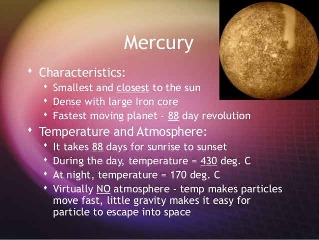 Characteristics of Mercury