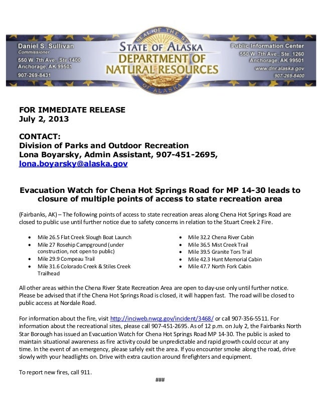 FOR IMMEDIATE RELEASE July 2, 2013 CONTACT: Division of Parks and Outdoor Recreation Lona Boyarsky, Admin Assistant, 907-4...