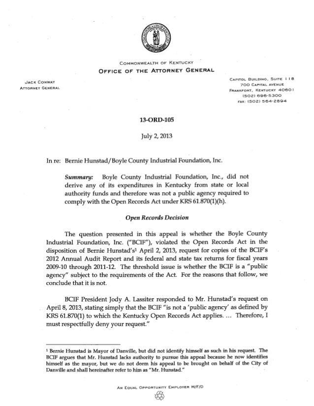 13-ORD-105: Hunstad v. BCIF, 7-2-13