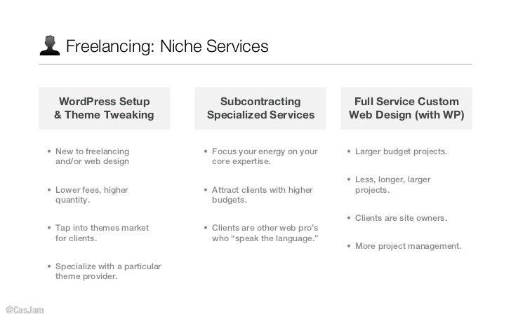 Freelancing: Niche Services            WordPress Setup                  Subcontracting                 Full Service Custom...