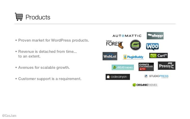 Products      • Proven market for WordPress products.      • Revenue is detached from time...        to an extent.      • ...