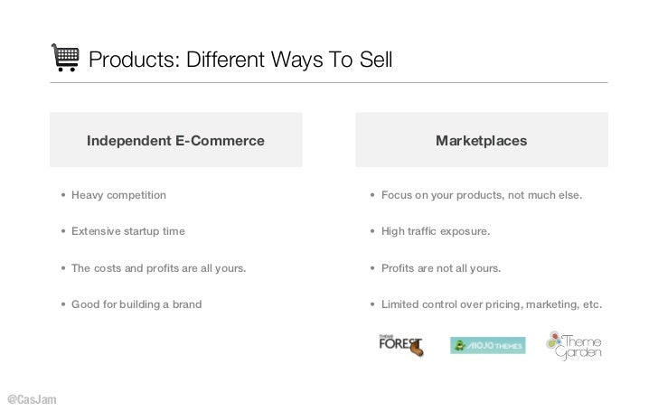Products: Different Ways To Sell               Independent E-Commerce                            Marketplaces          • H...
