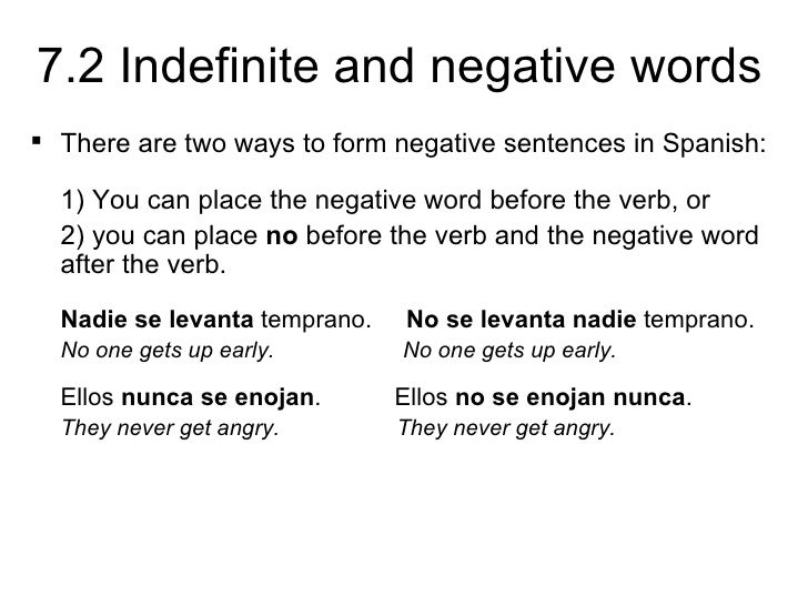 72 Indefinite and negative words – Verbs Like Gustar Worksheet