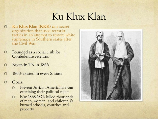 effects of reconstruction on african americans The ku klux klan was founded in pulaski, tennessee, in 1866 to combat reconstruction reforms and intimidate african americans by 1870 similar organizations such as the knights of the white camellia and the white brotherhood had sprung up across the south.
