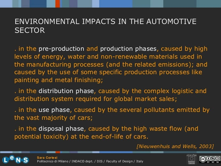 ENVIRONMENTAL IMPACTS IN THE AUTOMOTIVE SECTOR . in the  pre-production  and  production phases , caused by high levels of...