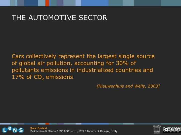 Cars collectively represent the largest single source of global air pollution, accounting for 30% of pollutants emissions ...