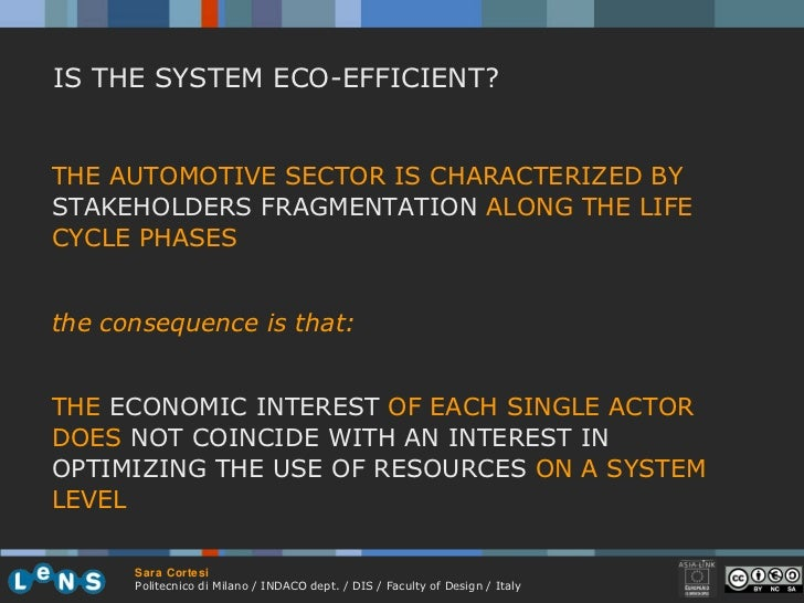 IS THE SYSTEM ECO-EFFICIENT? THE AUTOMOTIVE SECTOR IS CHARACTERIZED BY  STAKEHOLDERS FRAGMENTATION  ALONG THE LIFE CYCLE P...