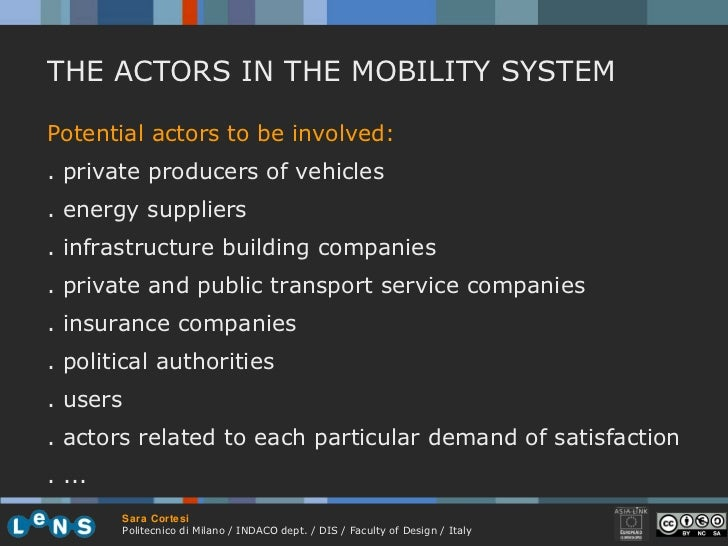 Potential actors to be involved:  . private producers of vehicles . energy suppliers . infrastructure building companies ....