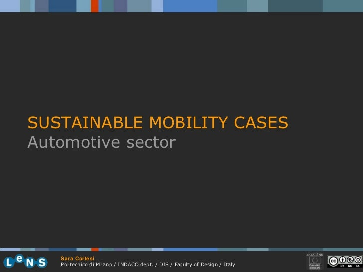 SUSTAINABLE MOBILITY CASES Automotive sector