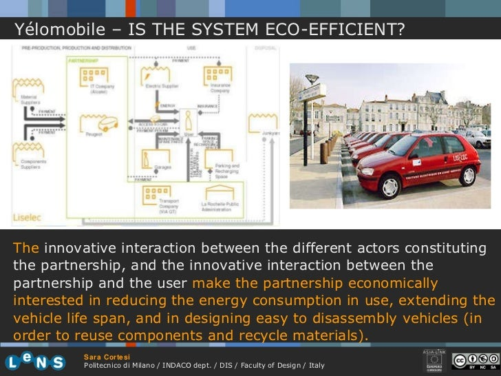 Yélomobile – IS THE SYSTEM ECO-EFFICIENT? The  innovative interaction between the different actors constituting the partne...