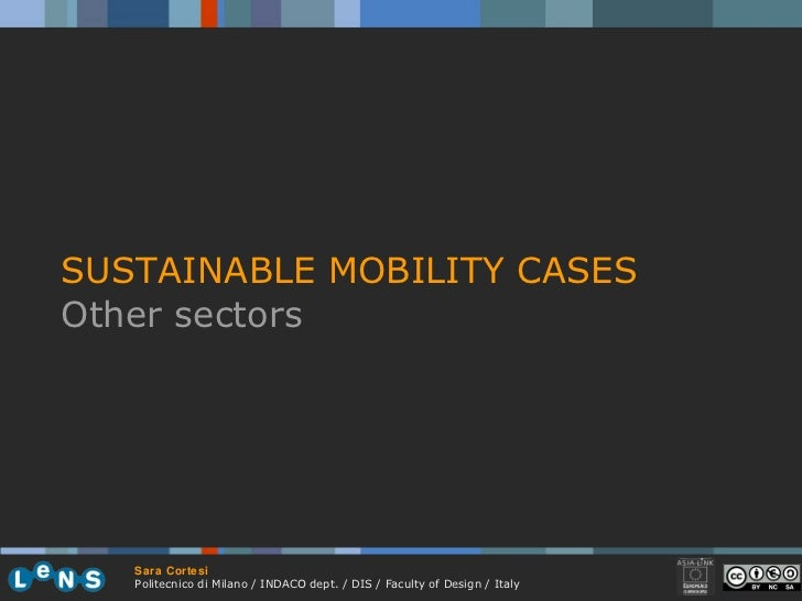 SUSTAINABLE MOBILITY CASES Other sectors