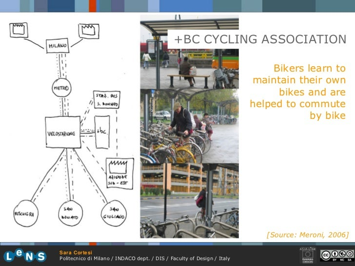 +BC CYCLING ASSOCIATION Bikers learn to maintain their own bikes and are helped to commute by bike [Source: Meroni, 2006]