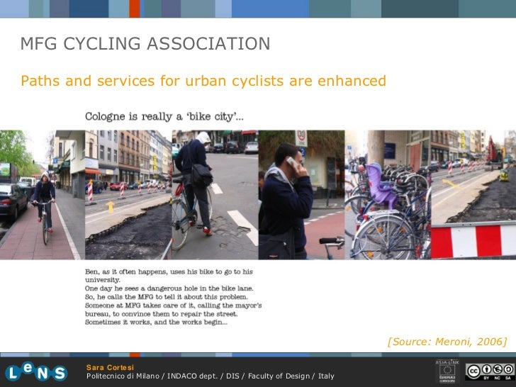 MFG CYCLING ASSOCIATION Paths and services for urban cyclists are enhanced [Source: Meroni, 2006]