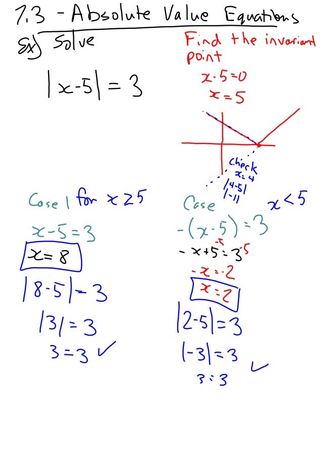7.3   absolute value equations
