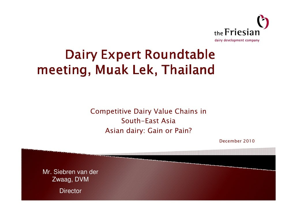 Competitive Dairy Value Chains in                        South-East Asia                   Asian dairy: Gain or Pain?     ...