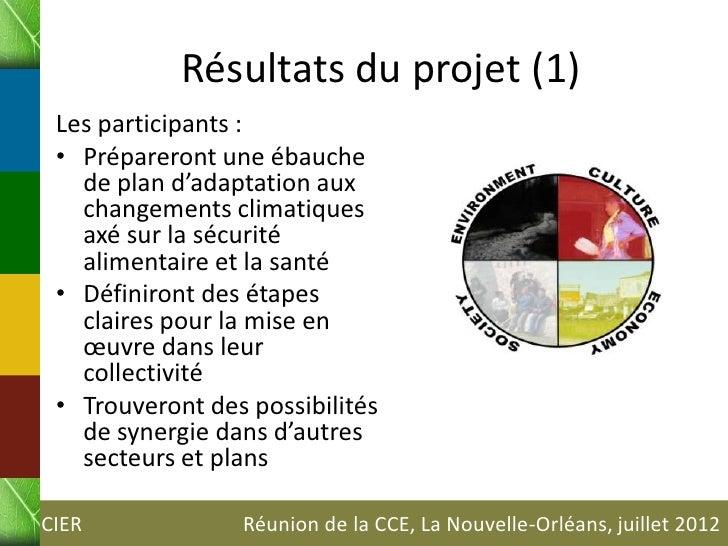 Résultats du projet (1) Les participants : • Prépareront une ébauche   de plan d'adaptation aux   changements climatiques ...