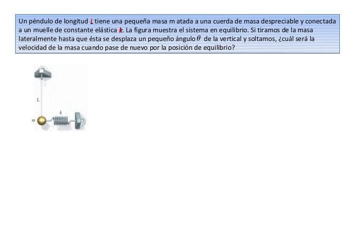 Un péndulo de longitud L tiene una pequeña masa m atada a una cuerda de masa despreciable y conectadaa un muelle de consta...