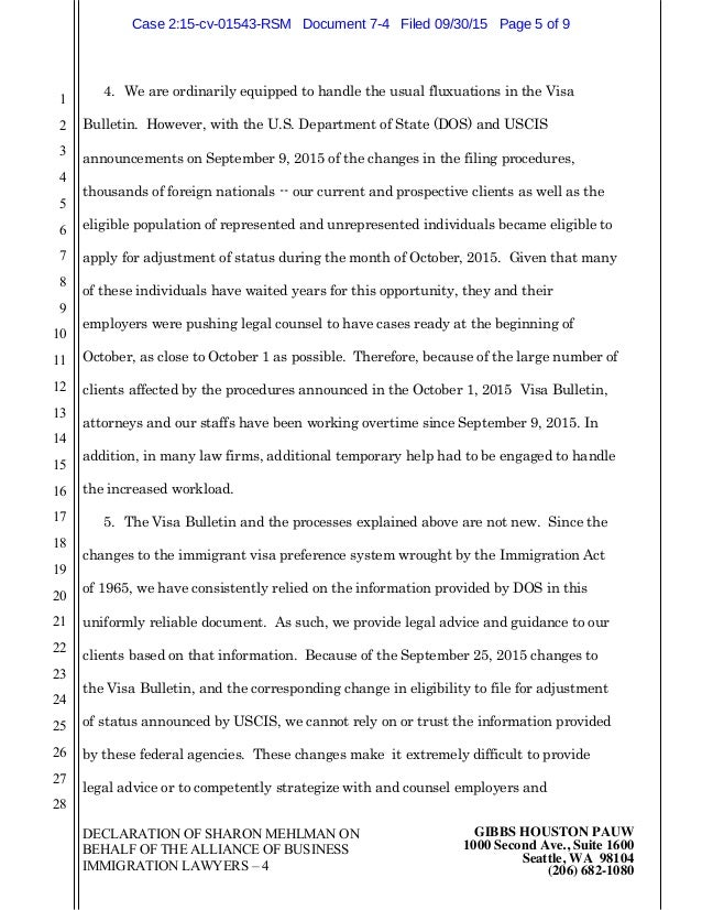 Declaration Of Alliance Of Business Immigration Lawyers