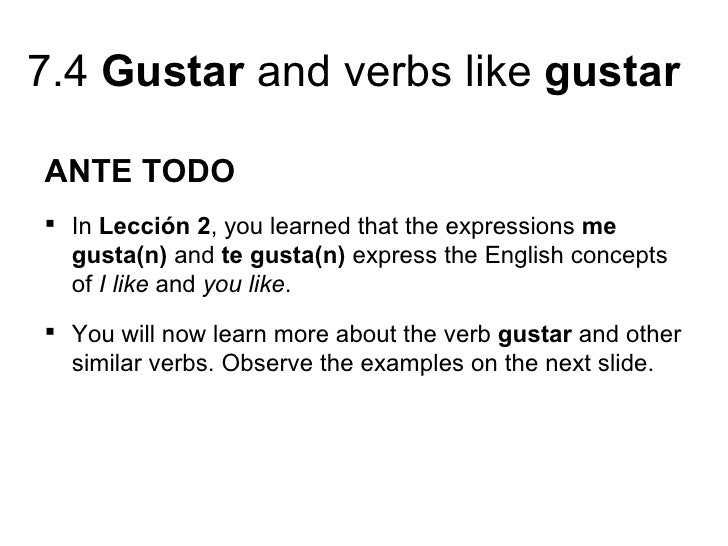 Grammar book |Gustar Forms