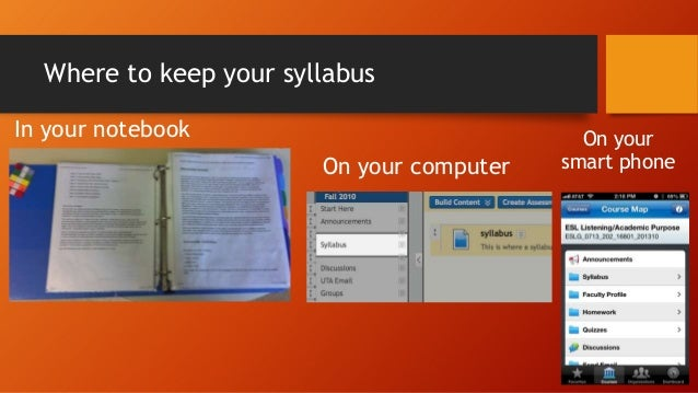 Where to keep your syllabus In your notebook On your computer  On your smart phone