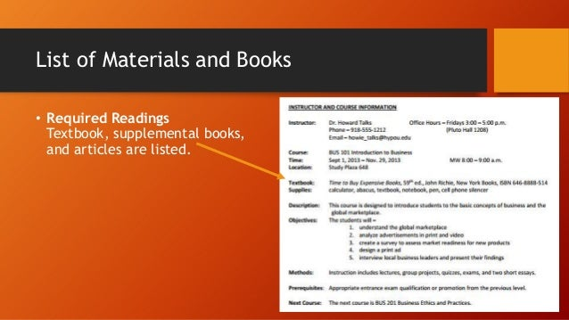 List of Materials and Books • Required Readings Textbook, supplemental books, and articles are listed.