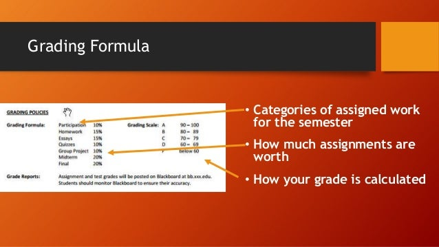 Grading Formula  • Categories of assigned work for the semester • How much assignments are worth • How your grade is calcu...