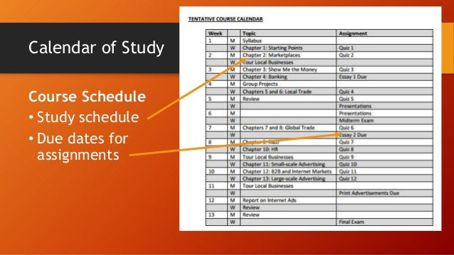 Calendar of Study Course Schedule • Study schedule • Due dates for assignments