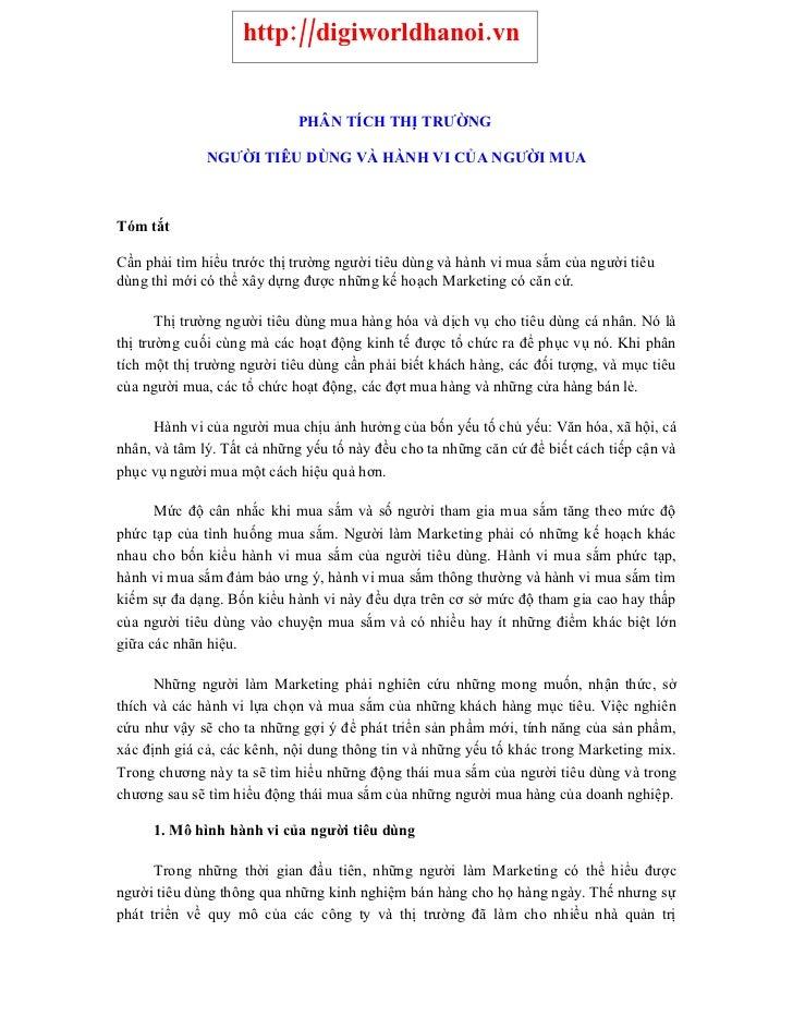 http://digiworldhanoi.vn                               PHÂN TÍCH THỊ TRƯỜNG                NGƯỜI TIÊU DÙNG VÀ HÀNH VI CỦA ...