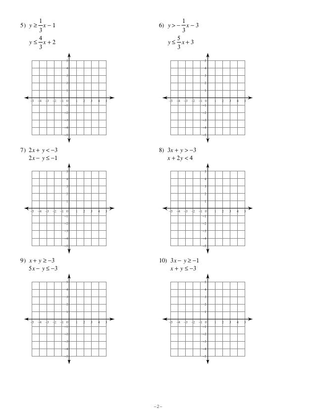 Solving Systems Of Inequalities By Graphing Worksheet Worksheets ...