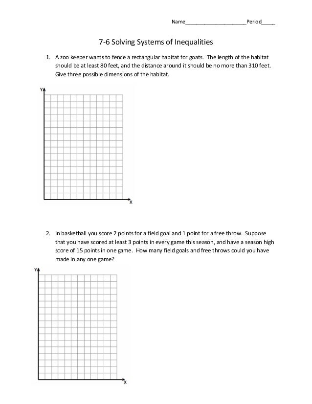 76 systems of inequalities word problems – Graphing Systems of Inequalities Worksheet