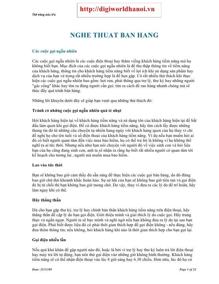 http://digiworldhanoi.vn ThÞ trêng môc tiªu                           NGHE THUAT BAN HANG  Các cuộc gọi ngẫu nhiên  Các cu...
