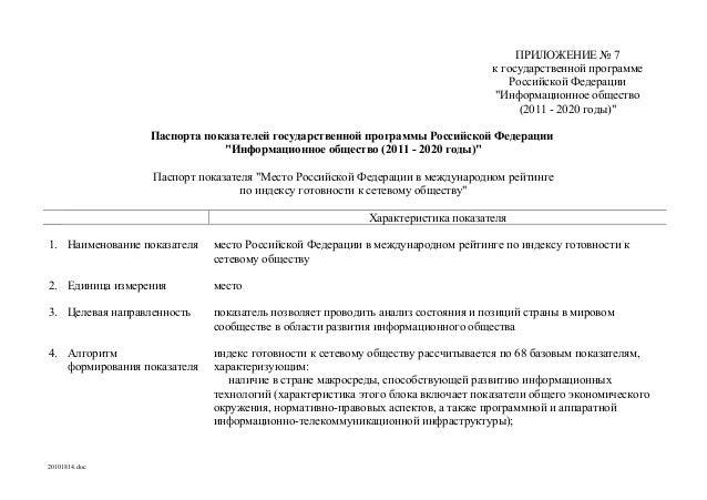 """ПРИЛОЖЕНИЕ № 7 к государственной программе Российской Федерации """"Информационное общество (2011 - 2020 годы)"""" Паспорта пока..."""