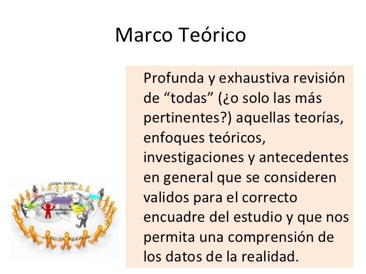 """Marco Teórico  <ul><li>Profunda y exhaustiva revisión de """"todas"""" (¿o solo las más pertinentes?) aquellas teorías, enfoques..."""