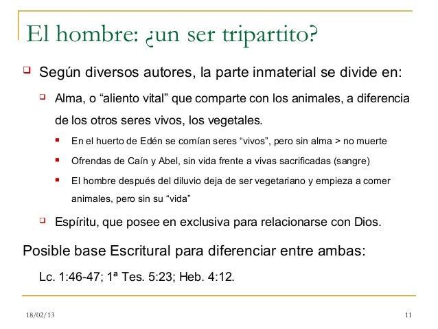"""El hombre: ¿un ser tripartito?   Según diversos autores, la parte inmaterial se divide en:          Alma, o """"aliento vit..."""