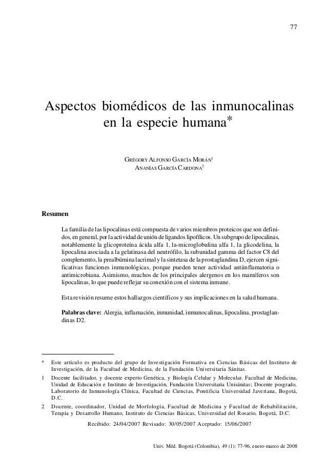 77    Aspectos biomédicos de las inmunocalinas             en la especie humana*                                    GRÉGOR...