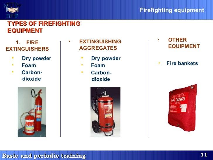 TYPES OF FIREFIGHTING EQUIPMENT   <ul><ul><li>Dry powder   </li></ul></ul><ul><ul><li>Foam   </li></ul></ul><ul><ul><li>Ca...