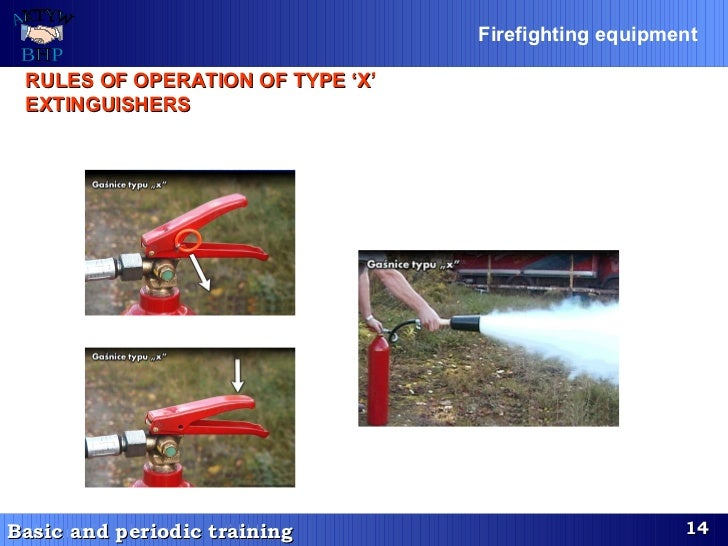 RULES OF OPERATION O F  TYPE 'X' EXTINGUISHERS   Firefighting equipment