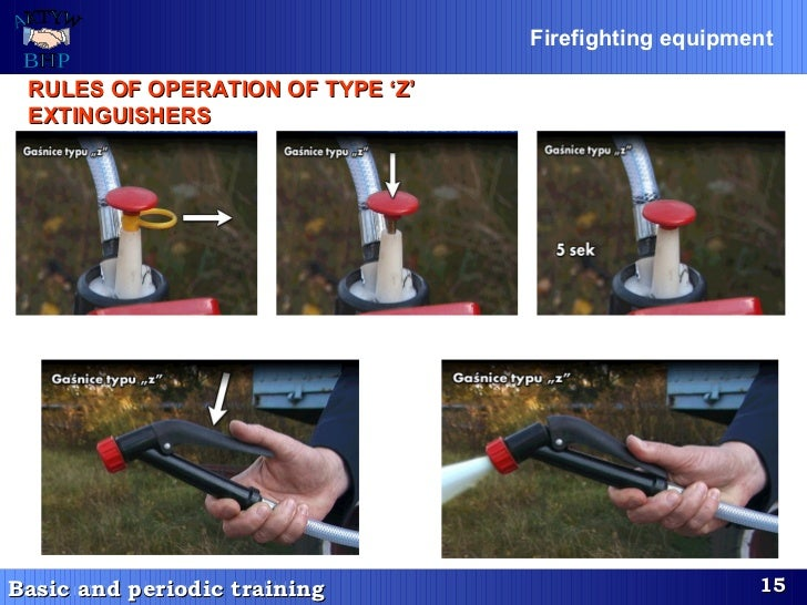 RULES OF OPERATION OF TYPE 'Z' EXTINGUISHERS   Firefighting equipment