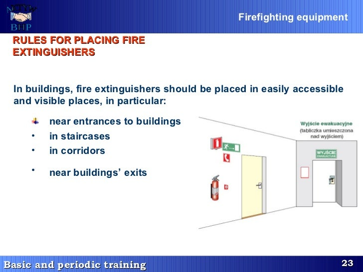 RULES FOR PLACING FIRE EXTINGUISHERS   <ul><li>In buildings, fire extinguishers should be placed in easily accessible and ...