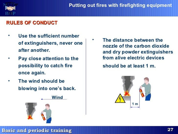 <ul><li>Use the sufficient number of extinguishers, never one after another. </li></ul><ul><li>Pay close attention to the ...