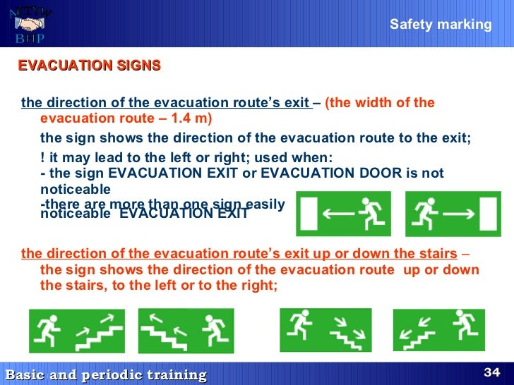 the direction of the evacuation route's exit  –  (the width of the evacuation route – 1.4 m) the sign shows the direction ...