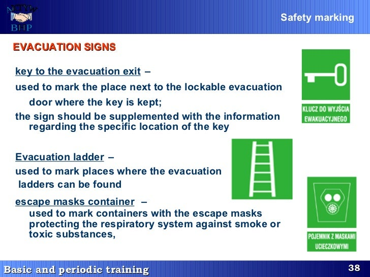key to the evacuation exit   –  used to mark the place next to the lockable evacuation door where the key is kept;   the s...
