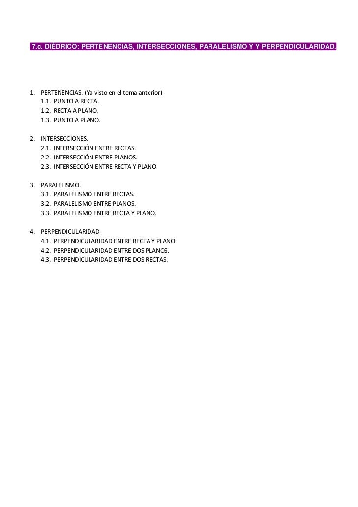 7.c. DIÉDRICO: PERTENENCIAS, INTERSECCIONES, PARALELISMO Y Y PERPENDICULARIDAD.1. PERTENENCIAS. (Ya visto en el tema anter...