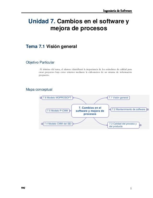 Ingeniería de Software SMJ 1 Unidad 7. Cambios en el software y mejora de procesos Tema 7.1 Visión general Objetivo Partic...