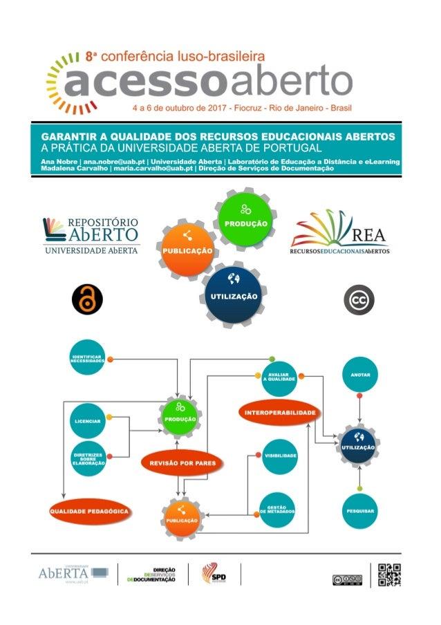 Garantir a qualidade dos recursos educacionais abertos: a prática da Universidade Aberta de Portugal - CONFOA 2017
