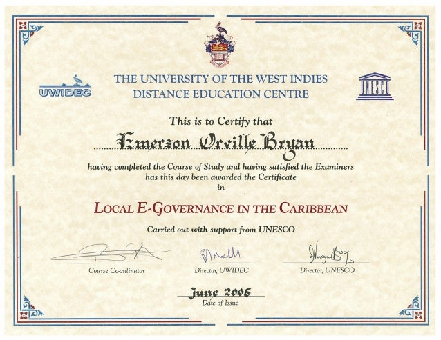 University Certificate: Local Electronic Governance in the Caribbean
