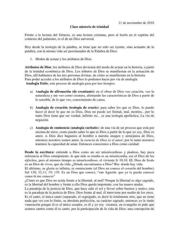 11 de noviembre de 2010<br />Clase misterio de trinidad<br />Frente a la lectura del Génesis, es una lectura cristiana, pe...