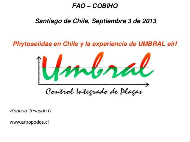 FAO – COBIHO Santiago de Chile, Septiembre 3 de 2013 Phytoseiidae en Chile y la experiencia de UMBRAL eirl Roberto Trincad...