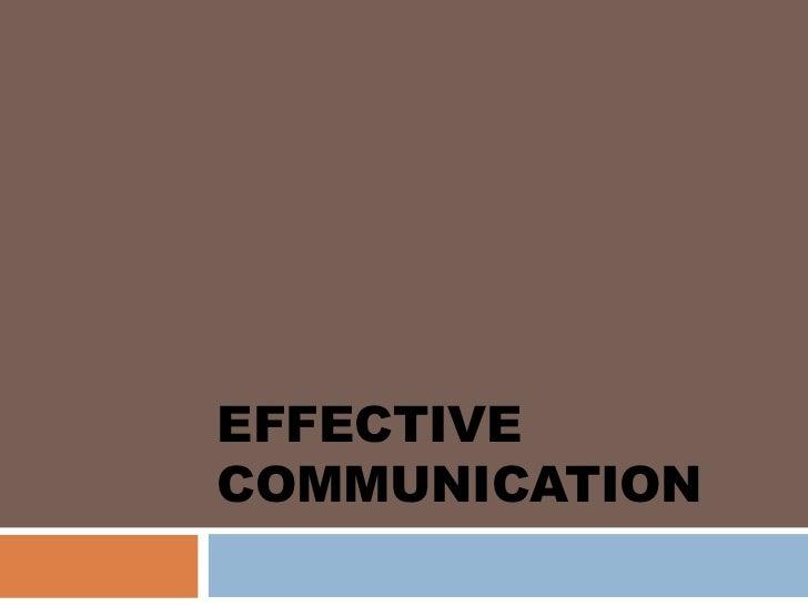 EFFECTIVECOMMUNICATION