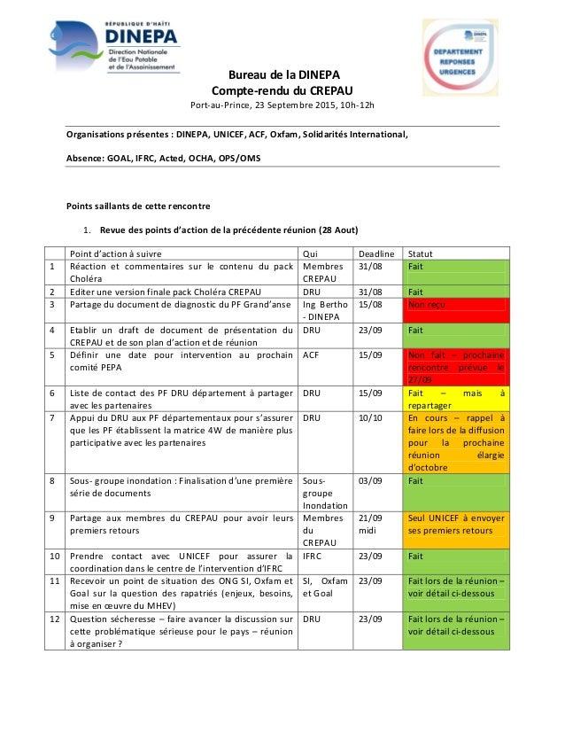 BureaudelaDINEPA Compte‐renduduCREPAU Port‐au‐Prince,23Septembre2015,10h‐12h  Organisationsprésentes:DIN...